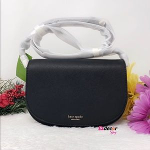 Kate Spade Reiley Flap Leather Crossbody Bag Black
